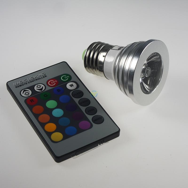 Led rgb e27 spot farbwechsel multicolor 3w fb for Led farbwechsel