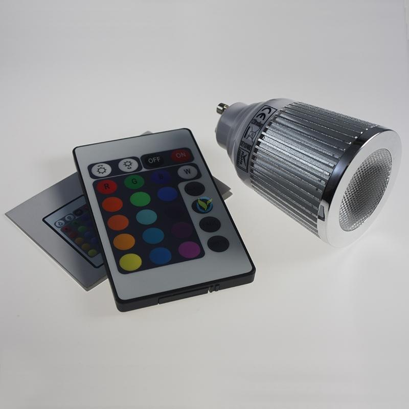 LED RGB-Farbwechsel Highpower Spot 5W GU10 mit FB