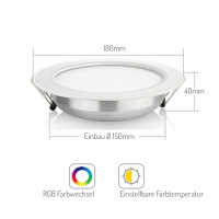 LED RGB CCT Downlight Einbauleuchte gesteuert 12W Fut066