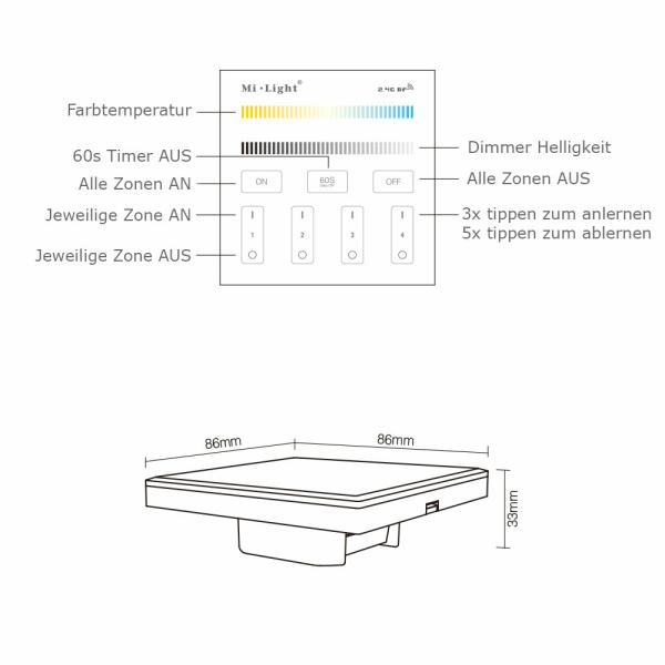 2.4G Wandschalter für Dimmer CCT Beleuchtung 4-Kanal MiLight 230 Volt T2