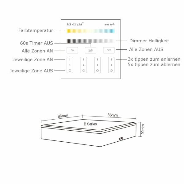 2.4G Wandschalter für Dimmer CCT Beleuchtung 4-Kanal MiLight Batteriebetrieben