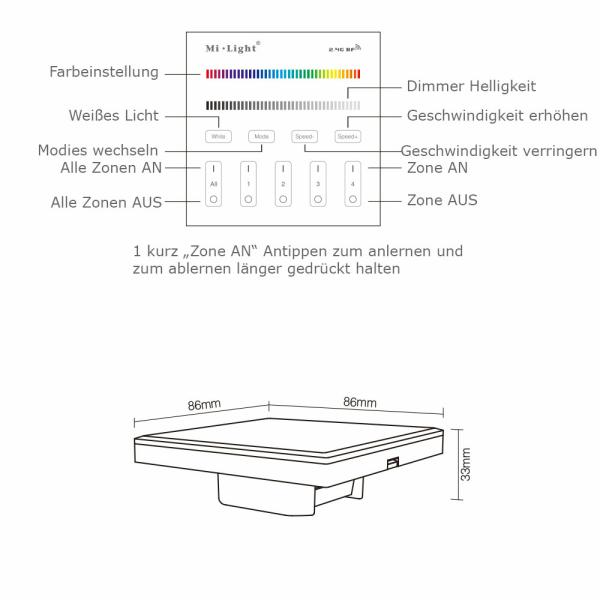 2.4G Wandschalter für RGBWW Beleuchtung 4-Kanal MiLight kompatibel 230 V T3