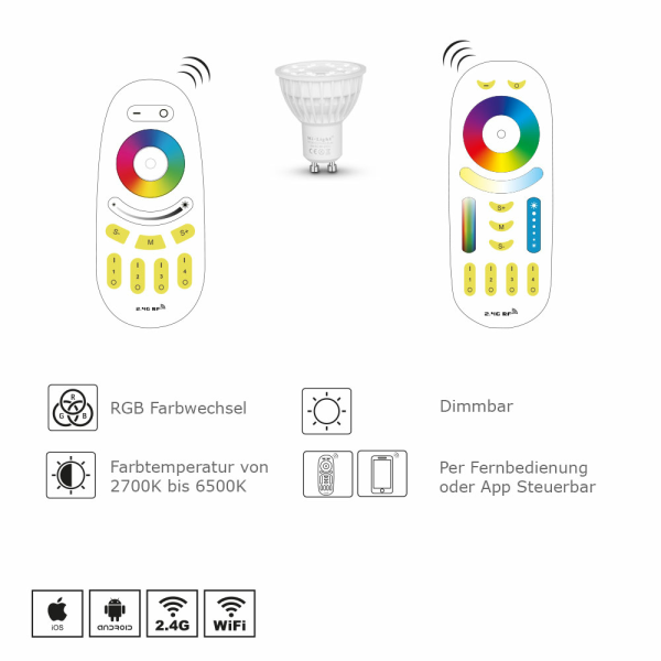 LED Gu10 Leuchtmittel Spot WiFi iOS/Android RGB+CCT Mr5,3