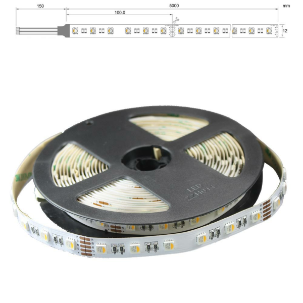 LED Strip Band 5m mit 60/m 4in1 SMD LED 24V RGBWW (RGB und warmweiß)