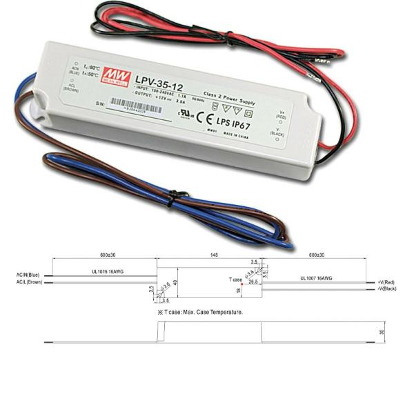 Mean Well LPV Serie Netzteil Trafo IP67 Konstantspannung 12VDC 35W