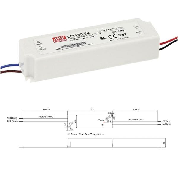 Mean Well LPV Serie Netzteil Trafo IP67 Konstantspannung 24VDC 35W
