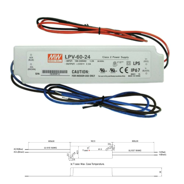 Mean Well LPV Serie Netzteil Trafo IP67 Konstantspannung 60W 24VDC