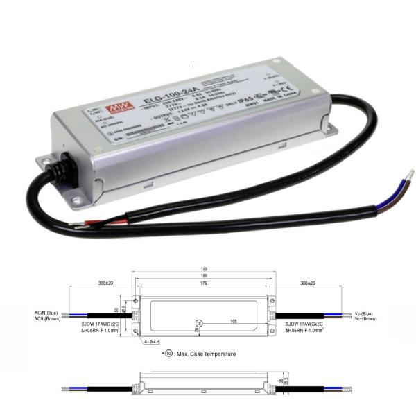 Mean Well ELG Serie Netzteil LED-Trafo IP65 Konstantspannung 100 Watt 24 Volt