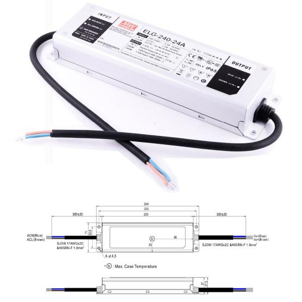 Mean Well ELG Serie Netzteil LED-Trafo IP65 Konstantspannung 240 Watt 24 Volt