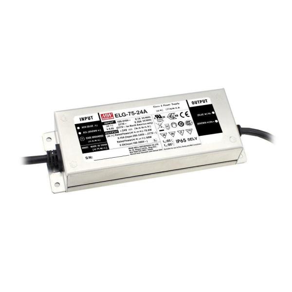 Mean Well ELG Serie Netzteil LED-Trafo IP65 Konstantspannung 75 Watt 24 Volt