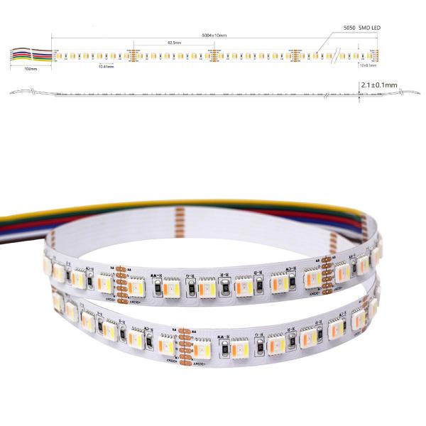 LED Lichtband RGB+CCT RGBWW Farbwechsel mit CCT W/WW 5in1 Chip Stripe IP65 96 LED/m