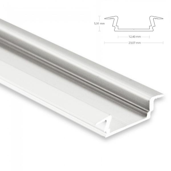 2m Einbauprofil, flach für maximal 12mm LED Lichtband mit Flügelkante