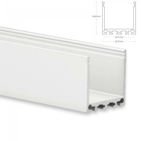 LED Aufbau-Profil 200 cm Aluschiene Hoch / Lichtband max. 24mm