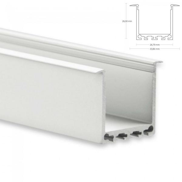 LED Aufbau-Profil 200 cm Aluschiene Hoch / Flügel /Lichtband max. 24mm PN7