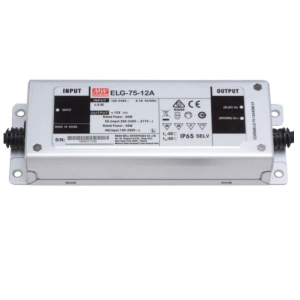 Mean Well ELG Serie Netzteil LED-Trafo IP65 Konstantspannung 60 Watt 12 Volt