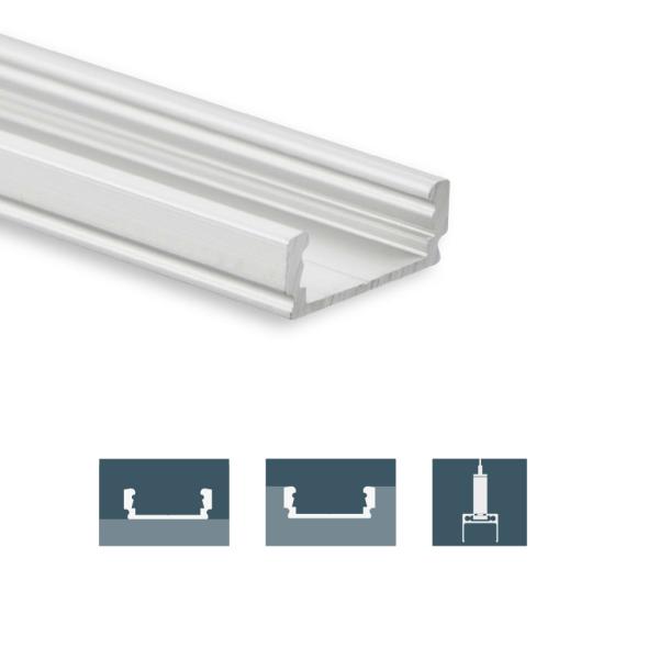 Berühmt Flaches Aufbauprofil aus Aluminium, schmal PL1 ME01