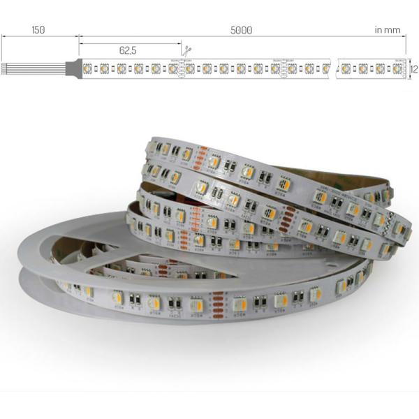 LED Lichtband RGB+Warmweiß RGBWW Farbwechsel mit WW 4in1 Chip Stripe 96 LED/M IP65 Nanobeschichtet