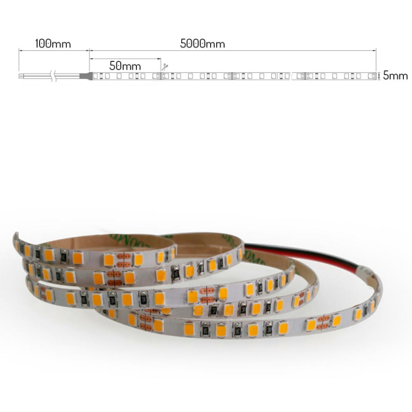5mm breites LED Lichtband 120 LED/m 5m Strip 9,6W/m mit 24VDC 2835 SMD IP20