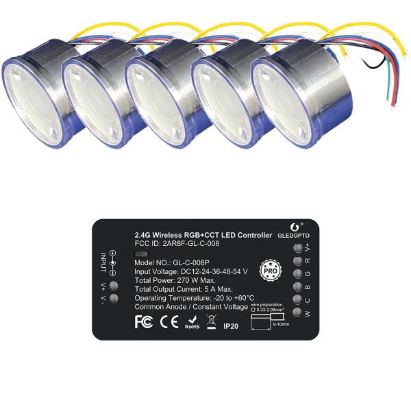 RGBCCT 4W Einbaustrahler SET ZigBee Lichtsteuerung kompatibel Einbaurahmen