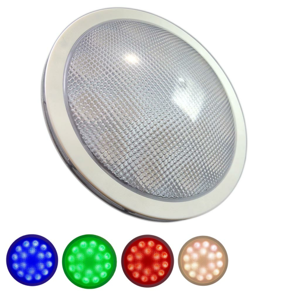DMX LED RGBW Poolbeleuchtung mit RGB Farbwechsel und warmweißem Licht Edelstahl
