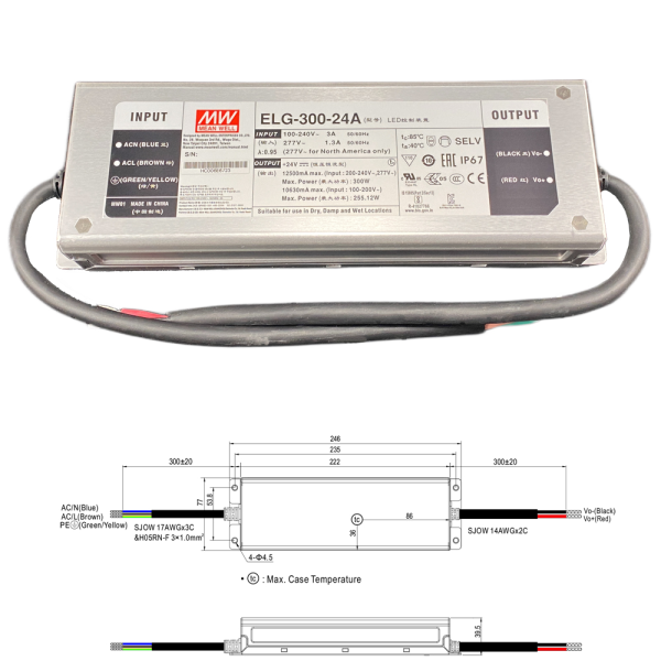 Mean Well ELG Serie Netzteil LED-Trafo IP65 Konstantspannung 300 Watt 24 Volt